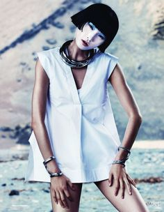 Xiao Wang | ELLE UK March 2013 | by Marcus Ohlsson