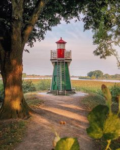 Globetrotters are sharing spots where Wes Anderson-esque views exist - Bunthäuser Spitze Light – Hamburg, Germany. Forest Camp, Pine Forest, Hamburg Germany, Genoa, Wes Anderson, Amazing Architecture, Lighthouse, Travel Destinations, Country Roads
