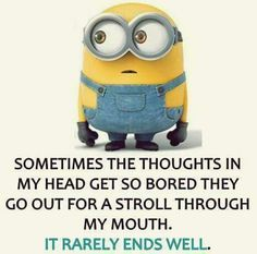 From minions …. Of course I talk to myself, I need an expert advise … below are some more similar hilarious minions pictures and funny memes, hopefully you will enjoy them ALSO READ: Minion Meaning ALSO READ: Top 25 Funny Graduation Captions Funny Minion Pictures, Funny Minion Memes, Minions Quotes, Funny Images, Funny Jokes, Minion Sayings, Minion Humor, Hilarious Quotes, Funny Cartoons