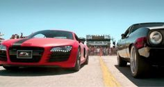 NEW 'Furious 7' cars! A R8 is seen squaring off in Dubai against a Plymouth Cuda. Click to see the extended trailer! #wow #Furious7