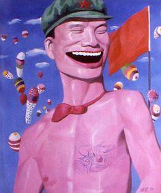 Yue Minjun - himself in various settings, frozen in laughter #Art #ContemporaryArt #China