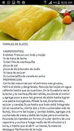 me ~ Tamales de elote Mexican Sweet Breads, Mexican Dishes, Mexican Cooking, Mexican Food Recipes, Salvadoran Food, Corn Tamales, Nicaraguan Food, Comida Diy, Guatemalan Recipes