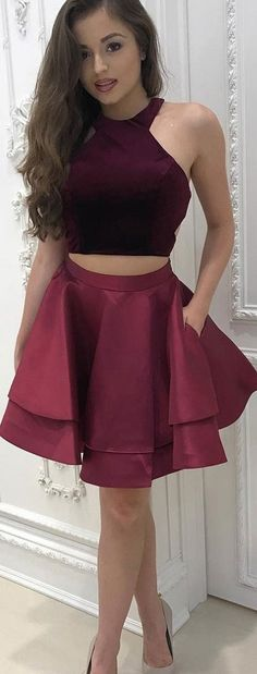 Two Piece Prom Dresses, Burgundy Prom Dresses, Halter Prom Dresses, Halter Homecoming Dresses, Burgundy Homecoming Dresses, Two Piece Dresses, Layered Homecoming Dresses