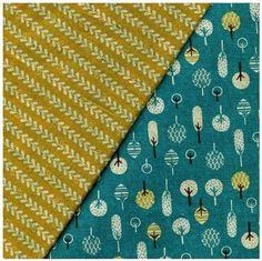 Prachtig stof die aan twee kanten is bedrukt. Deze reversible stof bestaat uit 80% katoen en 20% linnen   JAAN