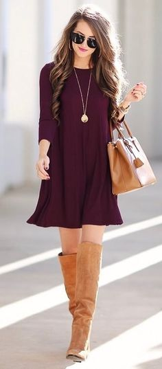 simple outfit dress   bag   over the knee boots