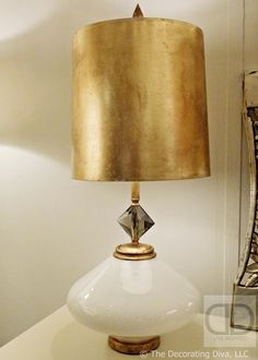Vintage White Ceramic & Gold Finish Table Lamp Louise Gaskill | The Decorating Diva, LLC #hpmkt fall 2013 High Point Furniture Market