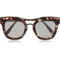 Bottega Veneta Cat-eye acetate and metal sunglasses ($495) ❤ liked on Polyvore featuring accessories, eyewear, sunglasses, bottega veneta, brown, metal sunglasses, tortoise glasses, cateye sunglasses, brown glasses and tortoise shell glasses