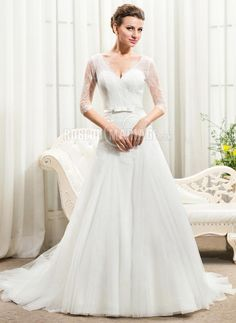 Manches mi-longues robe de mariée A-ligne en dentelle à traîne courte…