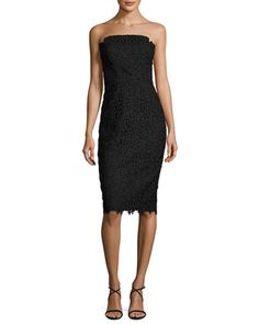 Strapless+Floral+Lace+Cocktail+Dress,+Black+by+Jill+Jill+Stuart+at+Neiman+Marcus.