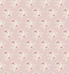 """""""Bird Pink"""" Scandi Floral Fabric by Tilda"""