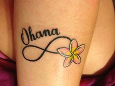 Ohana infinity tattoo. I want this tattoo on my ribs, maybe without the infinity sign.