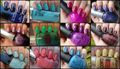 1. Chanel - Blue Satin, 2. Sportsgirl - Carribbean Blue, 3. Sinful Colors - Dream On, 4. OPI - DS Glamour, 5. OPI - DS Original, 6. Cora - Esmeralda, 7. China Glaze - Flying Dragon, 8. China Glaze - Lubu Heels, 9. Chanel - Nouvelle Vougue, 10. Missha - PK09, 11. OPI - Susy Says Feng Shui, 12. Cora - Yumi    i own 2 of these hehe