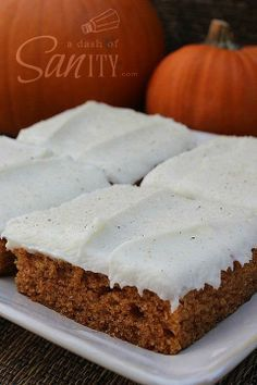 Best EVER Pumpkin Bars with Cream Cheese Frosting. Update: made in 9x 12 dish. Had to cook a full 30 mins. Frosting is really good. Not too sweet. Will make again.