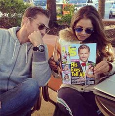 Juan Pablo Galavis and Carla Rodriguez Hang Out and Read Us Weekly in Jan 2014