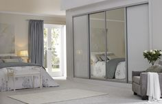 Beautiful Bedding With Bench And Sliding Mirror Closet Doors Also Area Rug With Recliner And Mirror Closet Doors Plus Curtain And French Door With Nightstand Also Sliding Closet Doors Mirrored Bifold Closet Doors, Modern Closet Doors, Mirror Closet Doors, Sliding Wardrobe Doors, Sliding Doors, Mirror Door, Diy Mirror, Bedroom Closet Storage, Bedroom Closet Design