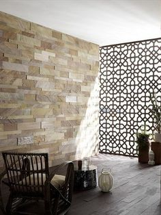 Fancy Privacy Screen Ideas for Your Home Interior Design - Decorate Your Home Home Interior, Interior And Exterior, Slate Wall Tiles, Divider Screen, Partition Screen, Decorative Screens, Islamic Architecture, Wall Cladding, Screen Design