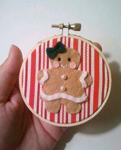 Joyful Gingerbread Girl Embroidery Hoop Red by heartfeltbymsmegas