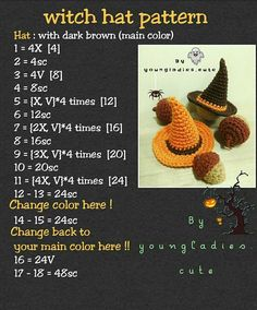 🌸 🌸 🌸 🌸 🌸 🌸 🌸 🍂 🍂 🍭 🍬 witch hat pattern 🍬 … 🌸 🌸 🌸 🌸 🌸 🌸 🌸 🍂 🍂 🍭 🍬 witch hat pattern 🍬 🍭 🍂 🍂 I think your doll wants to get a witch hat at a Halloween night party. Crochet Pour Halloween, Halloween Crochet Patterns, Crochet Patterns Amigurumi, Crochet Toys, Halloween Knitting, Crochet Fall, Holiday Crochet, Cute Crochet, Crotchet