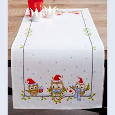 Funny Owls Table Runner - handwerkpakket met telpatroon Vervaco