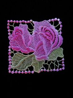 Pink Blue Rose Hand Dyed Venise Lace Applique via Etsy