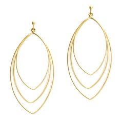 Big, bold and light, the Devyn Gold earrings strike a chord! - 3 brushed gold vermeil open ellipse hoops - 3'' long Love this! Found it on the bohemian trunk