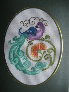 completed finished cross stitch card ''Peacock #2'' 5 by 7