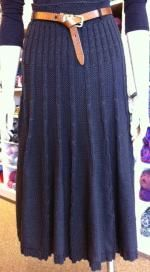 This skirt has a beautiful drape. Knitted A-line Cable Skirt. Pattern by Wool Baa.
