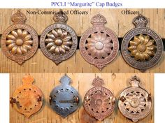 PPCLI Margurite Cap badges.    Princess Patrica's Canadian Light Infantry. Knee Cap, Canadian Army, Military Insignia, New Toys, Armed Forces, Badges, Police, Crochet Earrings, Tattoo Ideas