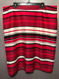 b10f2a640571 Olivia & Martin 20 Skirt Black Red White Striped Back Zip Straight  Pencil BF25 #