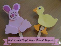 Last Minute Kid's Easter Craft: Foam Animal Magnets via www.jmanandmillerbug.com