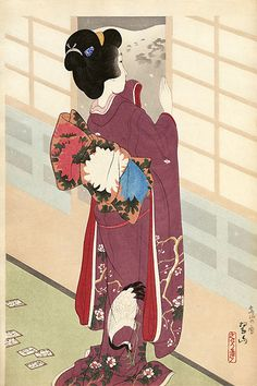 hanga gallery . . . torii gallery: Snow at Higashiyama by Suizan Miki 1924. Suizan Miki designed bijin-ga prints whose style shows the influence of ukiyo-e portraiture. Born in Hyogo in 1887, died 1957