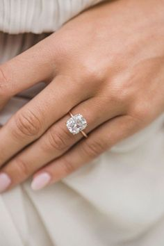 Engagement Rings 4 Carat, Radiant Engagement Rings, Elegant Engagement Rings, Cushion Cut Engagement Ring, Cushion Solitaire, Wedding Rings, Different Engagement Rings, Engagement Jewellery, Most Beautiful Engagement Rings