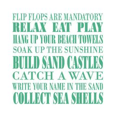 Sounds like a great time. Ready for vacation? Vacation quotes, Caribbean quotes, beach sayings, inspiring quotations Beach Rules, Beach Signs, The Words, Cozumel, Flip Flop Quotes, Beach Wall Decals, Ocean Quotes, Ocean Sayings, Wall Sayings