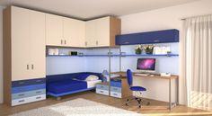 BADROOM - centri camerette specializzati in camere e camerette per ragazzi - Cameretta a Ponte con letto a ruote e Scrivania