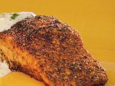 Blackened Salmon with Blue Cheese Sauce recipe from Aaron McCargo Jr. via Food Network