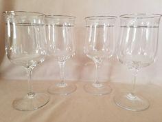 """4 Lenox Moonspun Stemware Water Goblets Etched Floral w/Platinum Trim 7 1/8""""  #Lenox"""