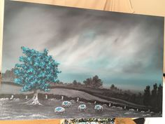 Ladies Do Lunch A Large Original Grey and Teal Blue | Etsy Tonight's Forecast, Beautiful Landscape Paintings, Tree Wall Art, Blue Painting, Cumbria, Triptych, Lake District, Abstract Wall Art, Windmill