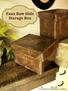 Raw Hide Faux Leather Storage Box with Lid | Stow&TellU
