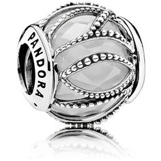 Pandora Charm - Sterling Silver, Cubic Zirconia & Glass Intertwining,... ($60) ❤ liked on Polyvore featuring jewelry, pendants, silver, cz charms, cubic zirconia jewelry, sterling silver charms pendants, glass jewelry and cz jewellery