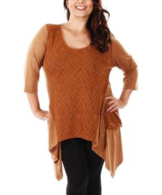 Another great find on #zulily! Copper Patchwork Sidetail Tunic - Plus by Lily #zulilyfinds