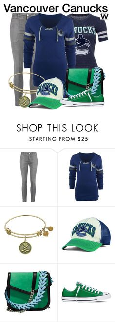 """""""NHL - The Vancouver Canucks"""" by wearwhatyouwatch ❤ liked on Polyvore featuring Current/Elliott, Old Time Hockey, Antigua, Reebok, Loewe, Converse, wearwhatyouwatch and Sports"""