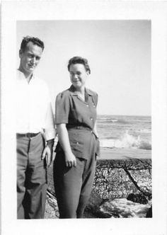 Black and White Vintage Snapshot Photograph Couple Beach Smile 1950's