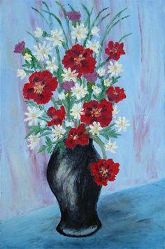 Digital item Wildflowers in Black Vase still life by AtelierHayat