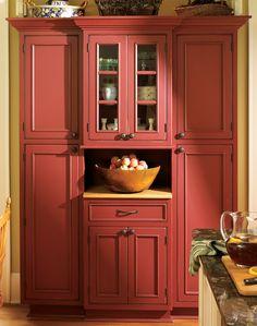 Kitchen Armoire - Home Furniture Design Kitchen Armoire, Red Kitchen Cabinets, Kitchen Cabinet Colors, Painting Kitchen Cabinets, Kitchen Colors, Rustic Cabinets, Armoire Pantry, Red Kitchen Walls, Toy Cupboard
