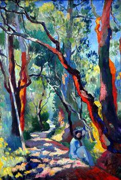 Henri Manguin - The Parkway, 1905 at Pinakothek der Moderne Munich Germany Fauvism Henri Matisse, Landscape Art, Landscape Paintings, Landscapes, Impressionist Paintings, Fauvism Art, Art Amour, Post Impressionism, Tree Art