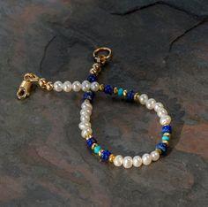 Pulsera de perlas blanca con Natural del lapislázuli de Lapis