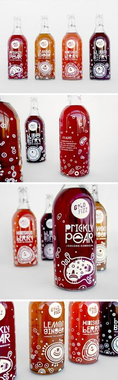 "Good Fizz is an MFA project conceived to explore both branding and packaging for an invented kombucha company. Embracing the fact that kombucha is comprised of tiny living organisms, each bottle features happy illustrations of floating bacteria as well as custom type that wraps the entire bottle. The paper seal on top lists ingredients along with the warning, ""Don't Shake! It's Fizzy Enough Already."" by Lydia Nichols PD *** #package #design #lovelypackage"