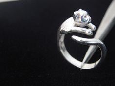 anillo gato plata 950.