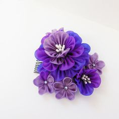 Purple Peony Tsumami Kanzashi Hair Comb