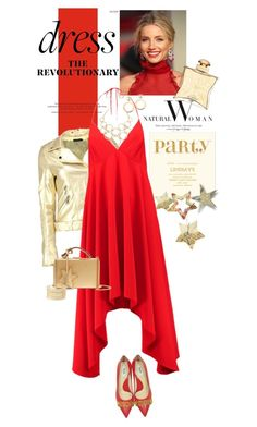 """""""Perfect Party Dress in Red"""" by ellie366 ❤ liked on Polyvore featuring Boohoo, Burberry, Halston Heritage, Moschino, Mark Cross, Charlotte Russe, Chanel, Vera Bradley, Hermès and gold"""